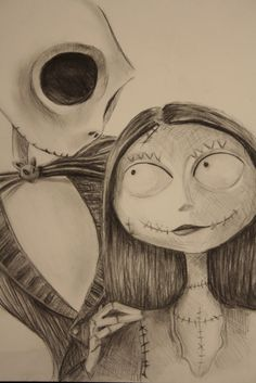 halloween jack the pumpkin king and sally drawing