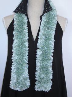 On Sale disc 50 Ruffle Scarf Knitted Glitz Mint by MinnieCreation, €19.32