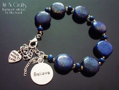 Egyptian Lapis Lazuli indigo gemstone bracelet with by ErikaKavali, £9.00