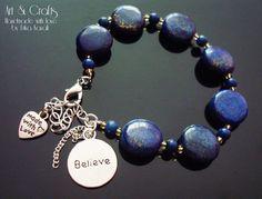 Egyptian Lapis Lazuli indigo gemstone bracelet with by ErikaKavali, £9.00