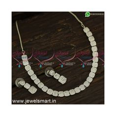 American Diamond Jewellery, Diamond Jewelry, Gold Jewelry, Gold Plated Necklace, Jewelry Patterns, Necklace Designs, Necklace Set, Jewelry Design, Rose Gold