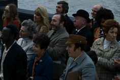 """Frenzy"" (1972) - Sir Alfred shows up looking a bit glum, in one of his regular spectating turns. And no wonder: he's listening to a politician chuntering away on the steps of County Hall. Luckily, a corpse washes up in the Thames and everyone perks up."