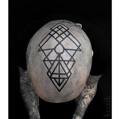 Blackwork Geometry Head Tattoo