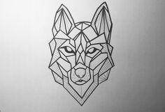 Wolf Tattoo Geometric Drawing