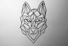 Wolf Tattoo Geometric Drawing