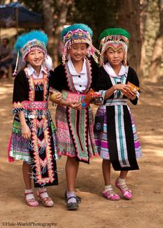 Young Hmong girls in traditional dress #Laos