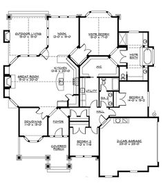 Craftsman 3 Beds 2 Baths 2320 Sq/Ft Plan #132-200 Main Floor Plan - Houseplans.com- has some elements I like