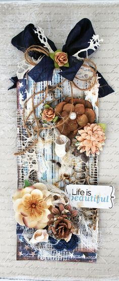 Life if Beautiful **Mixed Media Tag - Flying Unicorn ** ♡
