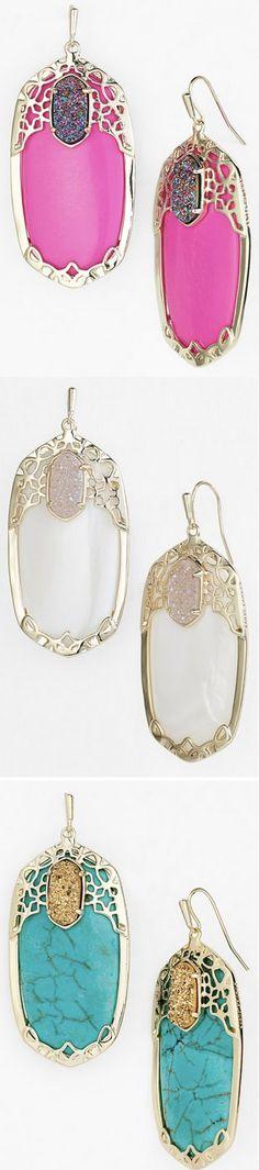 Gorgeous 'Glam Rocks' drop earrings kendra Scott love love LOVE the white! Jewelry Box, Jewelry Accessories, Jewlery, Statement Earrings, Drop Earrings, Big Earrings, The Violet, Kendra Scott Jewelry, Glam Rock