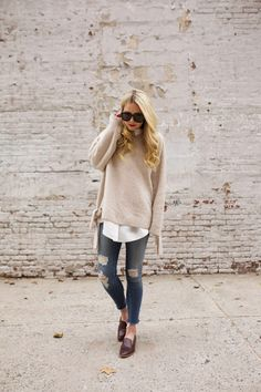 Atlantic-Pacific:Oatmeal Sweater layered over white shirt + distressed jeans