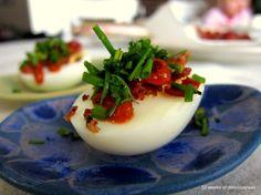Bacon-sriracha eggs 52 Weeks of Deliciousness » Blog