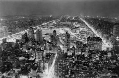 Aerial view of New York City, at night, showing Central Park created in 1937 by Vincent Lopez.