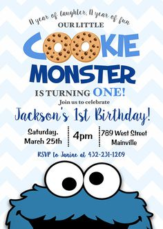 Cookie Monster First Birthday Invitation 1st Birthday Cookie