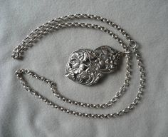 """Vintage sterling silver 3mm rollo chain 27"""" with 2 1/2"""" silver pendant by ConcealedTreasures on Etsy"""