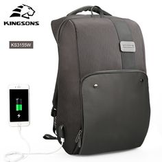 #Kingsons New #Men #Backpack For 15.6 17.3 inches Laptop Backpack Large Capacity Stundet Backpack Casual Style #Bag #Water #Repellent