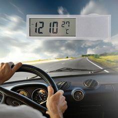 2 1 자동차 자동차 시계 온도계 시간 자동차 디지털 디스플레이 흡입 컵 AG10 버튼 셀 배터리 운영