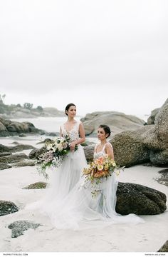 Vivid bouquets, fashioned using flowers in full bloom, were paired with romantic lace and tulle dresses, to conjure up a stunning bridal aesthetic. Flowy Gown, Tulle Dress, Winter Wedding Inspiration, Wedding Ideas, Beach Shoot, Romantic Lace, Designer Wedding Dresses, Seaside, Floral Design