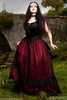 Chandra Elegant RED Satin & Black Velvet Dress by Sinister