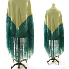 30s Flapper Shawl with Piano Fringe / Celadon Green by nickiefrye, $66.00