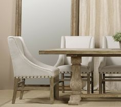 Nailhead Trestle Belgian Linen Upholstered Dining Chairs With Table