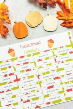 Printable Thanksgiving Charades Game Thanksgiving Family Games, Thanksgiving Words, Thanksgiving Stuffing, Thanksgiving Parties, Thanksgiving Crafts, Holiday Parties, Thanksgiving Decorations, Charades For Kids, Charades Game