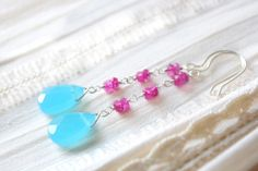 Blue Lagoon Earrings - Sky Blue Glass Drops, Pink Faceted Colored Rainbow Moonstone Gemstone Beaded Long Earrings, Sterling Silver Jewellery