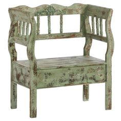 Trista Bench in Antique Green. made of Chinese Fir Wood