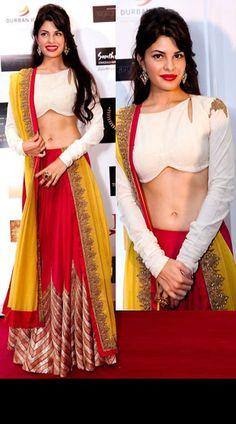 Jacqueline Fernandez At SAIFTA Awards Red Bollywood Replica Lehenga Choli! Call/whatsapp for booking Indian Lehenga, Bollywood Lehenga, Red Lehenga, Lehenga Choli, Bollywood Fashion, Bollywood Outfits, Yellow Lehenga, Lehenga Blouse, Bollywood Style