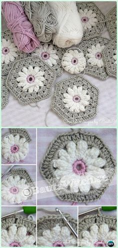 Crochet Daisy Flower Hexagon Motif Free Pattern - and many more afghan Free Patterns Hexagon Crochet Pattern, Crochet Flower Patterns, Crochet Mandala, Crochet Squares, Crochet Motif, Crochet Designs, Crochet Stitches, Free Pattern, Crochet Hexagon Blanket