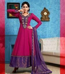 Buy Fuchsia color embroidered semi stitched designer anarkali suit semi-stitched-salwar-suit online