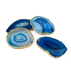 S/4 Gold Rimmed Blue Agate Coasters