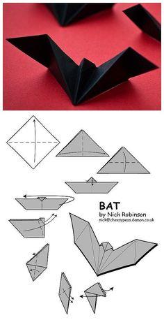 Bat paper artr halloween paper art www loveitsomuch com art artr bat halloween paper wwwloveitsomuchcom Origami Design, Origami Simple, Instruções Origami, Oragami, Easy Origami For Kids, Origami Tattoo, Origami Envelope, Dollar Origami, Origami Ideas