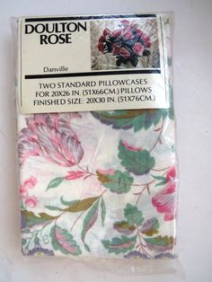 Pair Standard Pillowcases  Danville - Doulton Rose - New Unopened Package Floral