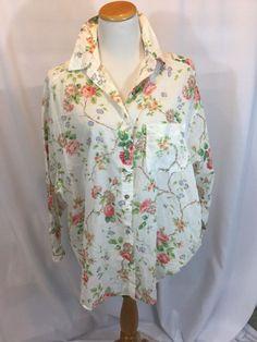 LAURA ASHLEY Vintage Sheer Cotton Oversized LS Button Up Floral Blouse EUC  CL #LAURAASHLEY #Blouse #Casual