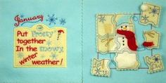 Puzzle Book Embroidery Designs - each month has it's own puzzle and pocket for holding pieces. Super cute!