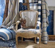 love the stripes and mixing in some old furniture pieces...