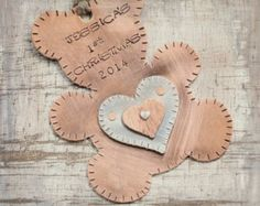 Teddy Bear ornament personalized and hand stamped with hearts baby's first Christmas Item D-2
