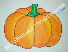 Easy pumpkin painting for kids with oil pastel by Pankaj karmakar Easy Painting For Kids, Oil Pastel Techniques, Pumpkin Painting, Painted Pumpkins, Easy Paintings, Fruit, Drawings, Food, Sketches
