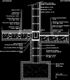 Fundación simple. encuentro muro - (dwgDibujo de Autocad)