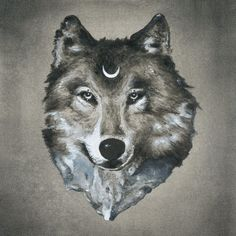 Wolf mountain print, wolf and moon print, wolf artwork