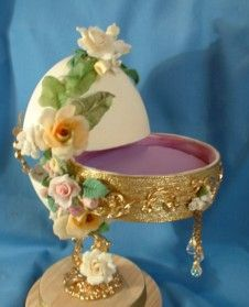 Egg Design Craft - decorated Faberge style egg art crafted by Ronnie Curran  with its secret drawer open