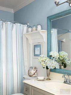 Blue Bathroom Decor, Nautical Bathrooms, Beach Bathrooms, Bathroom Styling, Bathroom Interior, Bedroom Decor, Bathroom Ideas, Boho Bathroom, Bathroom Designs