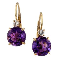 Amethyst Diamond Gold Drop Earrings | From a unique collection of vintage lever-back earrings at https://www.1stdibs.com/jewelry/earrings/lever-back-earrings/