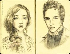 """Full of feels for Les Miserables right now. Fanart of Cosette and Marius, inspired by """"A Heart Full of Love / In My Life""""~ pencil on moleskine and digital color"""
