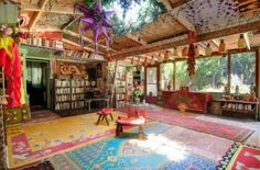 boho decorating | Bohemian Sunroom Sky Light Suburban House Monterey CA