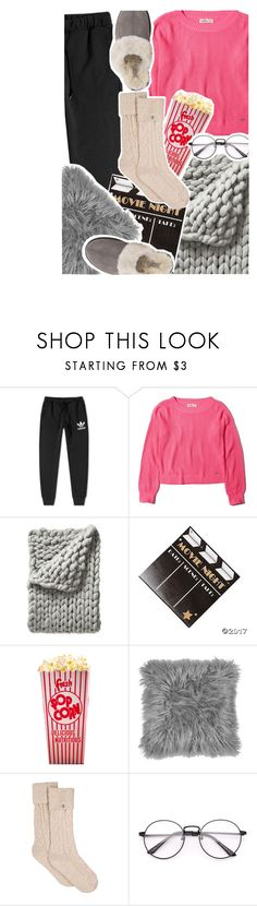 """""""Sweat pants, hair tied, chillin' with no make-up on"""" by sunshineb ❤ liked on Polyvore featuring adidas, Hollister Co., Serena & Lily and UGG"""