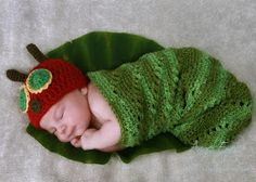Adorable Crochet and Knitted Baby Cocoon Patterns Remember the classic story of The Very Hungry Caterpillar by Eric Carle? Now you can make it come to life with this adorable very hungry caterpillar crochet . Very Hungry Caterpillar, Baby Patterns, Knitting Patterns, Blanket Patterns, Crochet Ideas, Crochet Baby Clothes, Newborn Crochet, Knit Patterns
