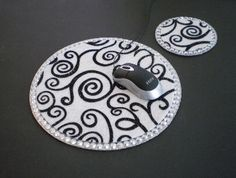 WHITE/BLACK SWIRL & Bling Mousepad/Coaster Set by LaurieBCreations, $13.00