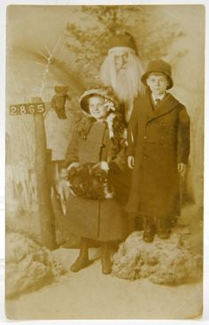 Scary Santa Claus with Children Real Photo Post Card Postcard RPPC Girl Wears Fox Collar & Muff Chicago Christmas Picture Siblings 14343 by QueeniesCollectibles on Etsy