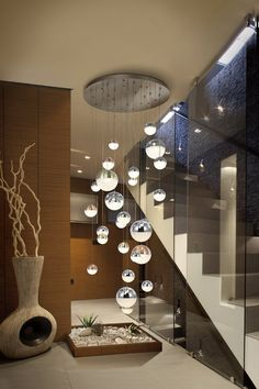Stylish 38 Magnificient Lighting Design Ideas For Stunning Living Room Décor Staircase Lighting Ideas, Stairway Lighting, Staircase Banister Ideas, Under Staircase Ideas, Home Stairs Design, Home Interior Design, Interior Decorating, Modern Stairs Design, Living Room Designs